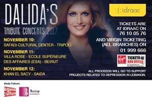 Dalida Tribute Concerts will take place in 3 diferrent locations in Lebanon... Get your tickets now!