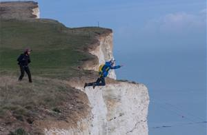 Hero basejumper makes 530ft leap off Beachy Head to rescue his injured friend