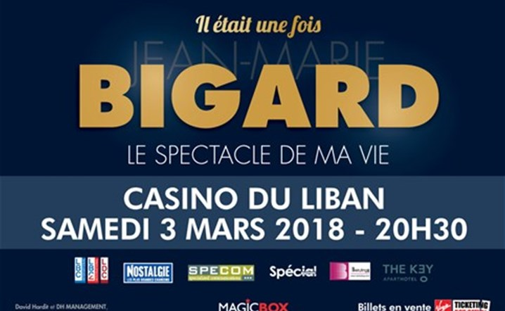 Jean-Marie Bigard will be performing live at Casino Du Liban on March 3. Tickets on sale!