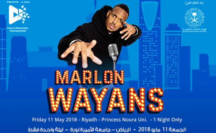 Marlon Wayans is coming to Riyadh on 11th of May... Get your tickets now!