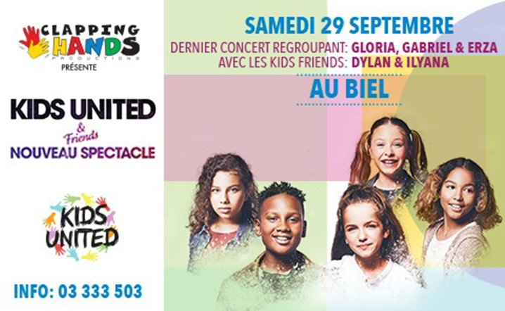 KIDS UNITED & FRIENDS le Samedi 29 Septembre au Biel. Billets en vente!