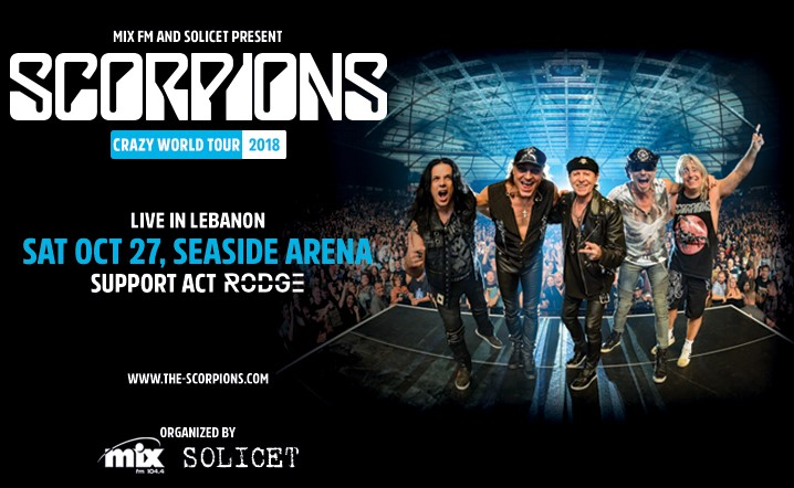 Scorpions live in Beirut with their new Show the Crazy world Tour 2018. Buy your tickets now from all virgin branches.