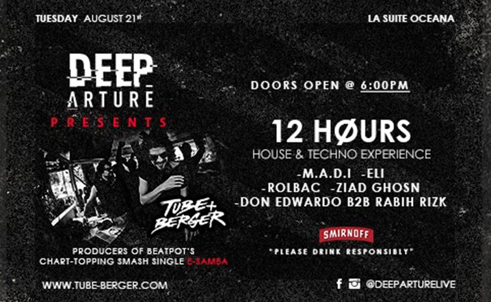 Deeparture presents 12 hours house and techno experience at La Suite Oceana... Get your tickets now!