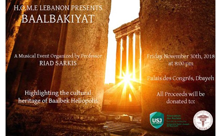BAALBAKIYAT musical event will be held on November 30 at Palais Des Congres. Tickets available now!