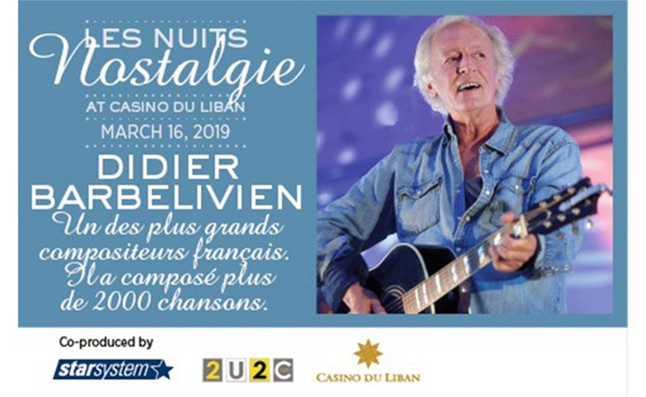 Didier Barbelivien will perform for the first time in Lebanon on 16 March at Casino du Liban