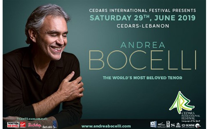 Andrea Bocelli will be performing live at Cedars International Festival 2019 on 29 June... Tickets on sale!